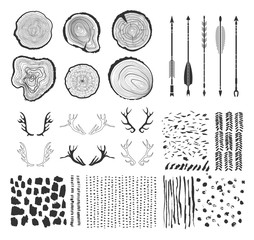 Set with  tree-rings, arrows, antlers and textures made with ink