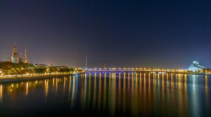 Riga. The river Daugava at night.