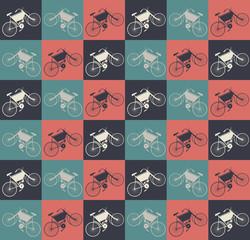Elegant seamless pattern with retro bikes