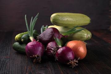Vegetables on wood. Bio Healthy food, herbs and spices. Vegan.
