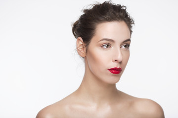 Image of a beautiful girl with red lipstick over white background