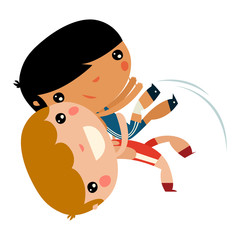 greco-roman kids. children fighting.