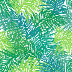 Ink hand drawn jungle leaves seamless pattern