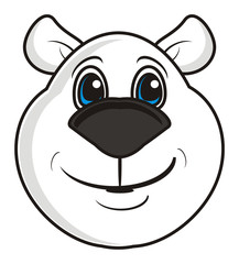 head, face, muzzle, isolated, toy, childhood, cartoon, head, face, fauna, animal, illustration, character, emotion, kind, nice, bear, white, white bear, smile