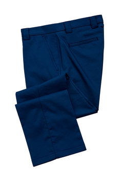 Blue mens trousers on white background