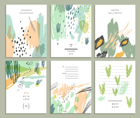 Collection of six cute universal card or invitations.
