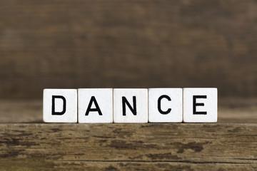 The word dance written in cubes