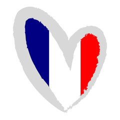Flag of France in the form of heart.