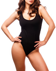 Posh woman with sexy body, white background