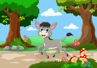 Funny donkey with a background of a beautiful garden