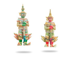 Green and Red Giant (Guardian) in the Temple, Thailand isolated on white background