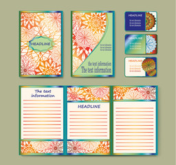 A set of templates of business cards, brashyur, invitations. Page A5 and A4. Floral mandalas. The Eastern vector flyer design front and back sides. Easy to use and edit. Islam