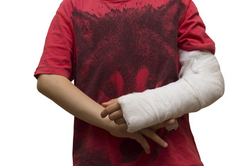 Boy with gypsum around broken left arm