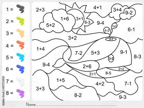 math worksheet : paint color by addition and subtraction numbers  worksheet for  : Vector Addition Worksheet