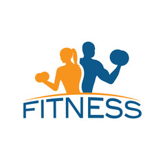 man and woman of fitness silhouette character vector design temp