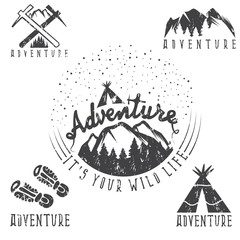 set of vintage grunge labels mountain adventure and camping