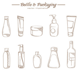 Cosmetic packaging hand drawing sketch