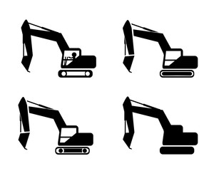Set of excavator in silhouette symbol style