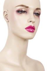 Close-up of mannequin with makeup