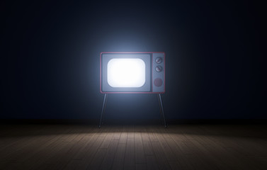 Empty dark room with tv