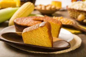 Corn cake. Traditional Brazilian treats made of corn.