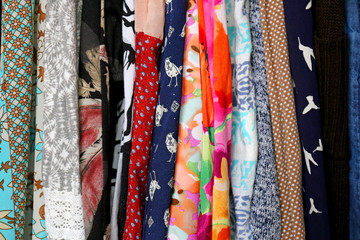 Row of Colorful Women's Clothing Fabric