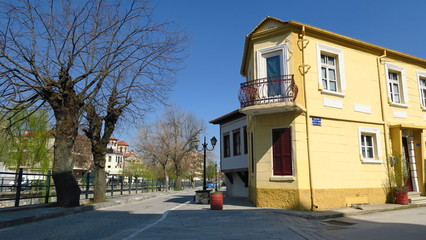 Florina, Greece. Traditional neoclassical house by Sakoulevas river.