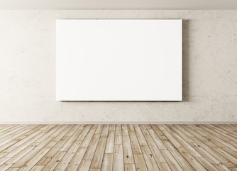 Empty Interior background with big poster 3d rendering