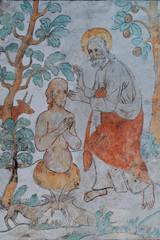 Gott erschafft den Menschen / Darstellung in der Kirche von Lieberhausen / Deutschland
