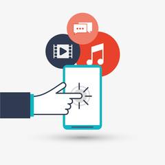 cursor and smartphone design, vector illustration