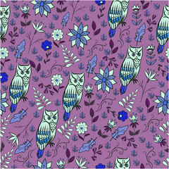 Seamless abstract pattern with owl and plants