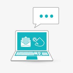 cursor and laptop design, vector illustration