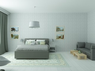 Rendering of bright cozy bedroom in classic or Scandinavian style in white, olive and gray colors with sofa and pictures on wall