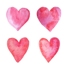 Watercolor hand painted hearts
