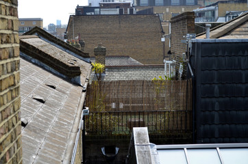view on backyard and roofs in the city of london