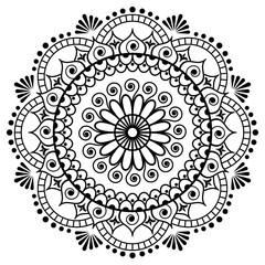 Mehndi mandala flower in Indian henna style for tatoo or card.