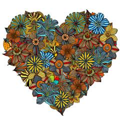 Hand drawn Heart of flower