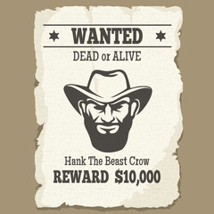 Wanted dead or alive poster. Vintage western wanted poster with cowboy face. Vector illustration