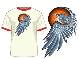 "The print ""Raven"". Vector. Can be used on different clothes."