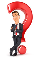 3d businessman leaning back against question mark