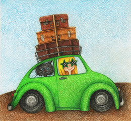 Child's picture of girl and cat, traveling by car by the color pencils