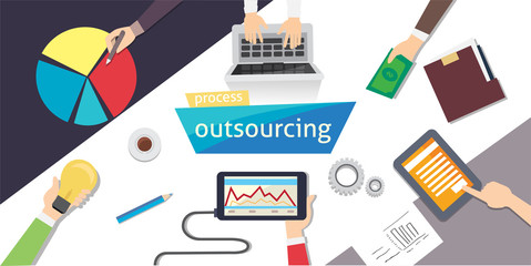 Outsourcing Hiring Outsource. Outsourc digital design, eps 10. overhead illustration. vector-stock.