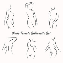 Nude female silhouette woman health logo and woman body care emblem. Vector illustration
