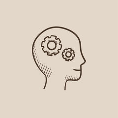 Human head with gear sketch icon.