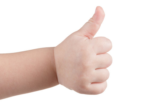 Approval thumbs up like sign, caucasian child hand gesture isolated over white