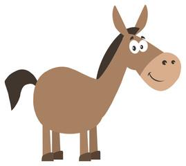 Smiling Donkey Cartoon Character. Illustration Flat Design Style