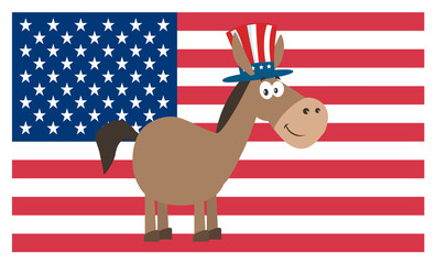 Democrat Donkey Cartoon Character With Uncle Sam Hat Over USA Flag