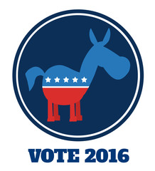 Democrat Donkey Cartoon Blue Circale Label With Text. Vector Illustration Flat Design Style