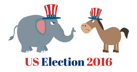 Angry Political Elephant Republican Vs Donkey Democrat. Illustration Flat Design Style