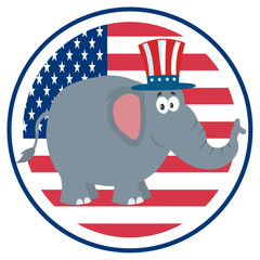 Republican Elephant Cartoon Character With Uncle Sam Hat Over USA Flag Label